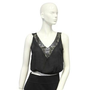 Black Embellished Beaded After Party Top Size S